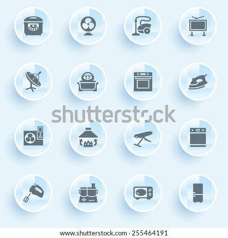 Home appliances icons with buttons on blue background.