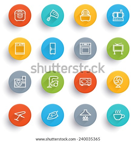 Home appliances icons with color buttons. - stock vector