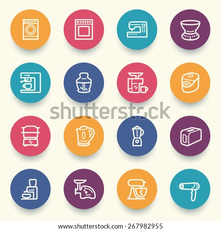 Home appliances icons with color buttons on gray background. - stock vector