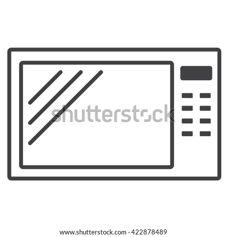 Home appliances. Microwave. Simple linear microwave icon. Outlines. Vector Image. - stock vector