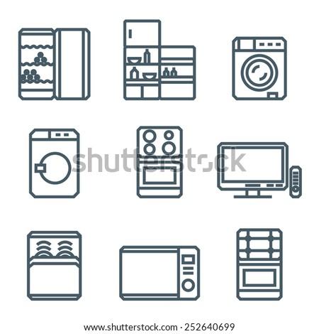 Home appliances modern linear modern concept vectors icon - stock vector