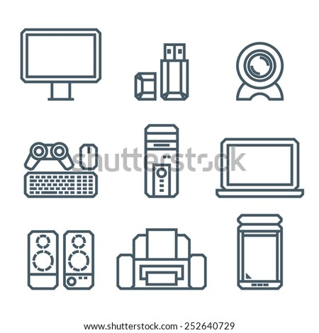 Home appliances modern linear modern concept vectors icon - stock vector