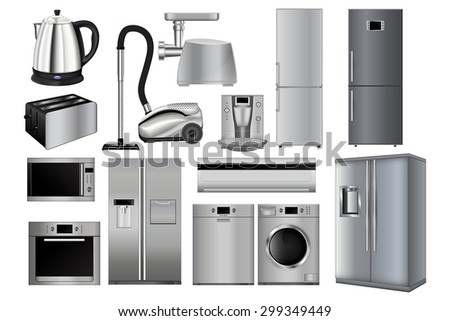 Home appliances. Set of household kitchen technics: Microwave and  Oven, grinder, Dishwasher, Vacuum cleaner, refrigerator, coffee machine, split-system, washing machine, kettle,  Vector drawing  - stock vector