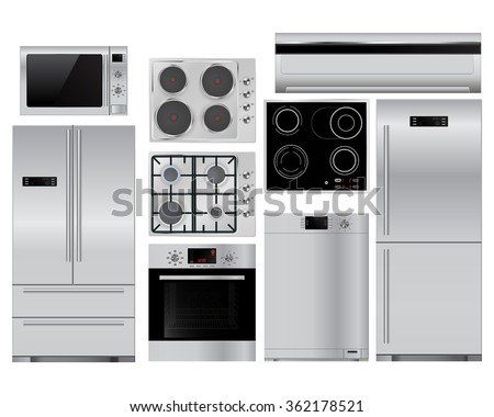Home appliances. Set of household kitchenware, Microwave and electric Oven, Dishwasher, refrigerator,  Gas stove. Surface electric stove. Vector isolated on white - stock vector