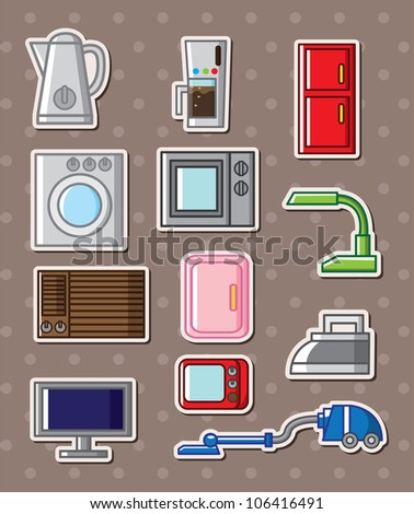 home appliances stickers - stock vector