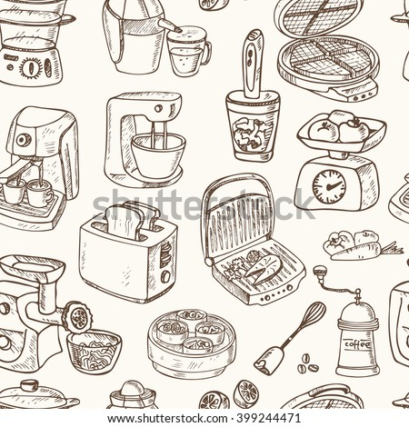 Home appliances themed doodle Seamless Pattern. . Sketches. Hand-drawing. Vector illustration of for design and packages product. Vector Illustration.