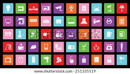 Home appliances vector icons - stock vector