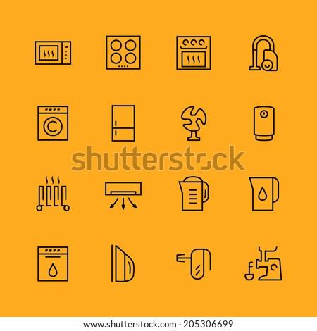 Home appliances vector icons set, thin line - stock vector