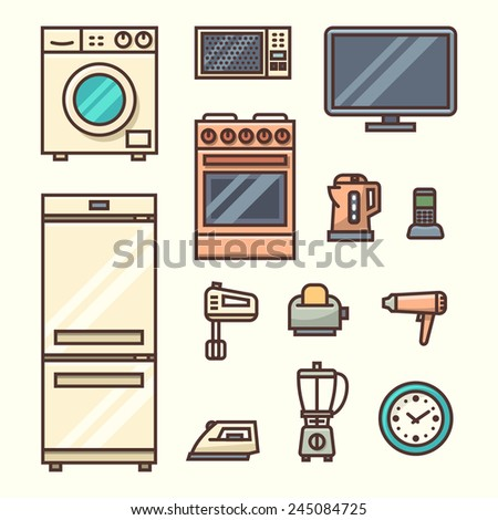 Home appliances. Vector illustration. - stock vector