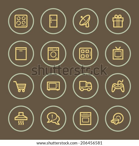 Home appliances web icons set, coffee series