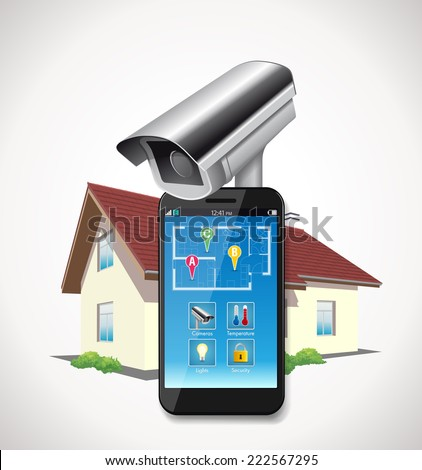 Home automation - cctv and mobile application on smartphone  - stock vector