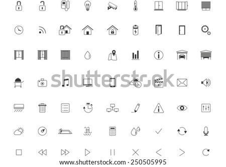 Home Automation Icon set, Smart Home,Thin Minimalistic, Line, Vector - stock vector