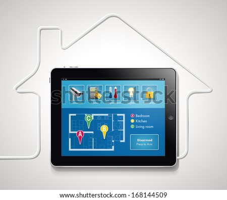 Home automation - smart security and automated system  - stock vector