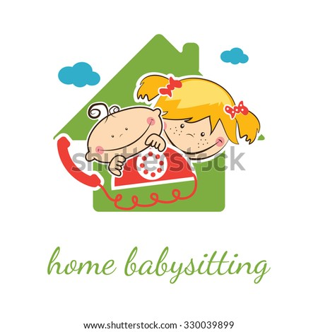 Home babysitter vector concept with funny boy and girl - stock vector