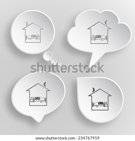 Home bedroom. White flat vector buttons on gray background. - stock vector
