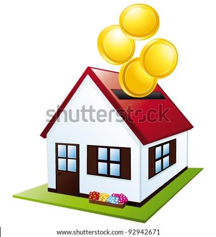 Home budget. House piggy bank vector icon. - stock vector