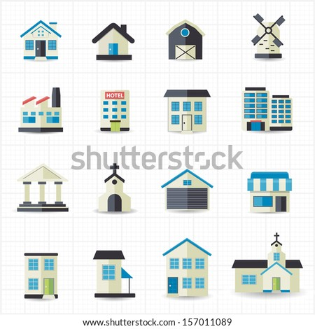 Home building icons - stock vector