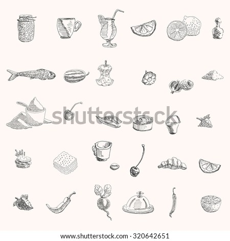 Home canning, cocktail, lemon, watermelon, apple, squash, flour, cherries, green peas, bucket, burger, biscuits, strawberry, pepper, beet, dish, cap and dome dish sketch drawings set