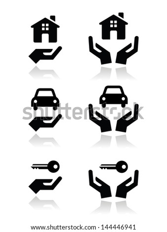 Home, car, keys with hands icons set - stock vector