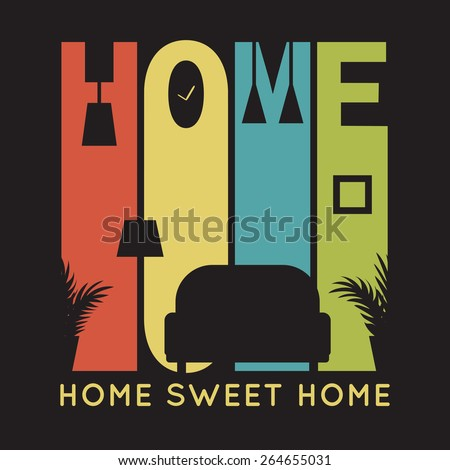 Home card with apartment icons, t-shirt graphics on black background. Vector illustration for your business presentation. Banner of simple bright symbols of family values. - stock vector