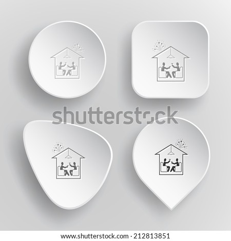 Home celebration. White flat vector buttons on gray background. - stock vector