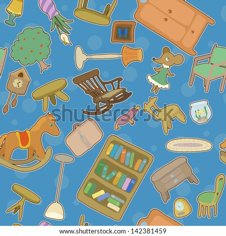 Home chaos - seamless pattern - stock vector