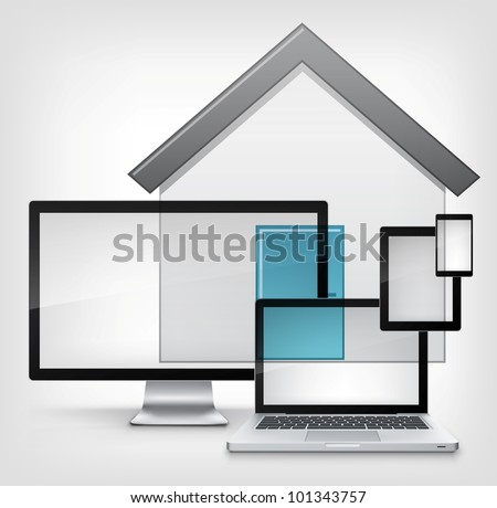 Home Concept. Information Medium on Grey Gradient Background. Vector.