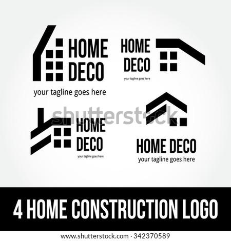 Home Construction abstract vector logo design template paper creative office icon business company symbol concept - stock vector
