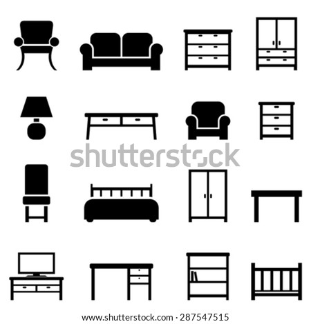 Home decor and furniture icon set - stock vector