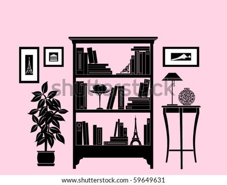 Home decoration, bookshelf - stock vector