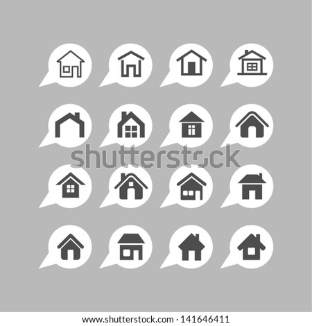 Home design icons - stock vector