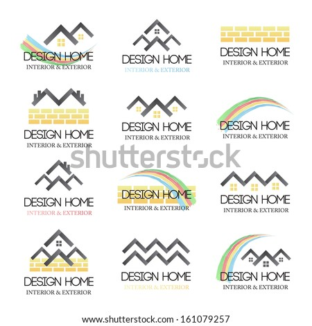 Home Design Icons Set Isolated On Stock Vector 161079257 ...