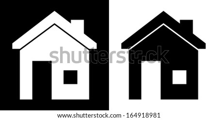 home design over white and black background vector illustration    - stock vector
