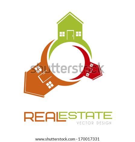 home design over white background vector illustration    - stock vector