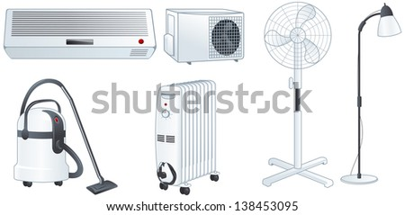 Home electric appliances set: air conditioner, fan, floor lamp, vacuum cleaner, oil heater. Isolated vector illustrations - stock vector