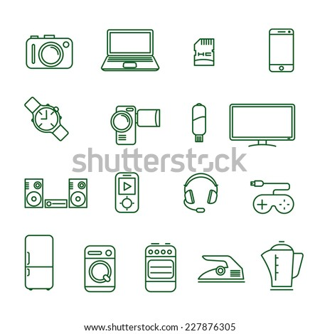Home electronics and gadgets thin line vector icon set - stock vector