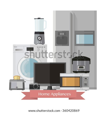 Home electronics appliances.Set of household technics:Microwave,fridge,Washer,blender,TV,camera,toaster,Multicooker. - stock vector