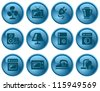 Home electronics button set - stock vector