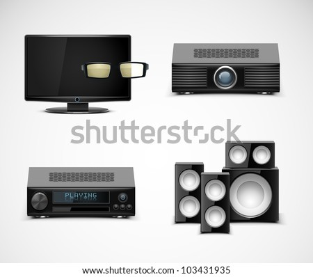 home electronics vector icons - stock vector