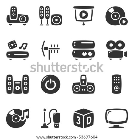 Home entertainment icons. Slightly asymmetric and curvy. - stock vector