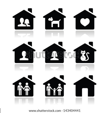 Home, family vector icons set - stock vector