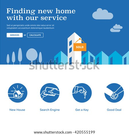 Home finder website design elements. Housing website illustration and services icons - Find new home with our service.  - stock vector