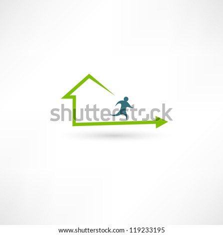 Home fitness icon - stock vector