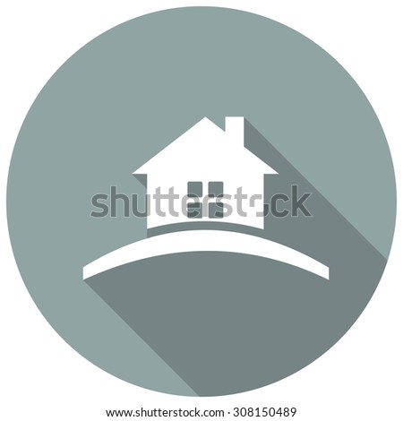 home flat Icon with long shadow