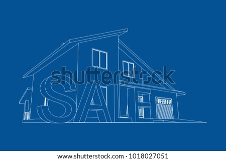 Home sale real estate concept 3 d stock vector 2018 1018027051 home for sale real estate concept 3d vector architectural blueprint malvernweather Gallery