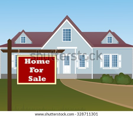 Home For Sale Real Estate Sign in Front of Beautiful New House. - stock vector