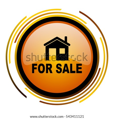 Home for sale vector icon. Modern design round orange button isolated on white background for web and applications in eps10.
