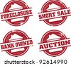 Home Foreclosure and Real Estate Stamps - stock photo