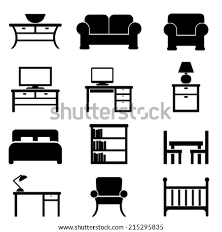 Home furniture icon set in black - stock vector