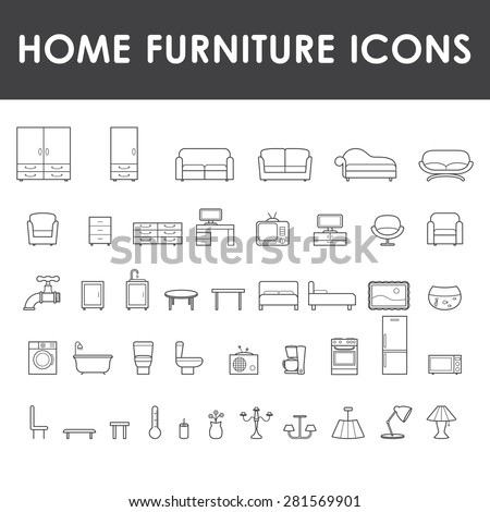 Home furniture icons set. - stock vector